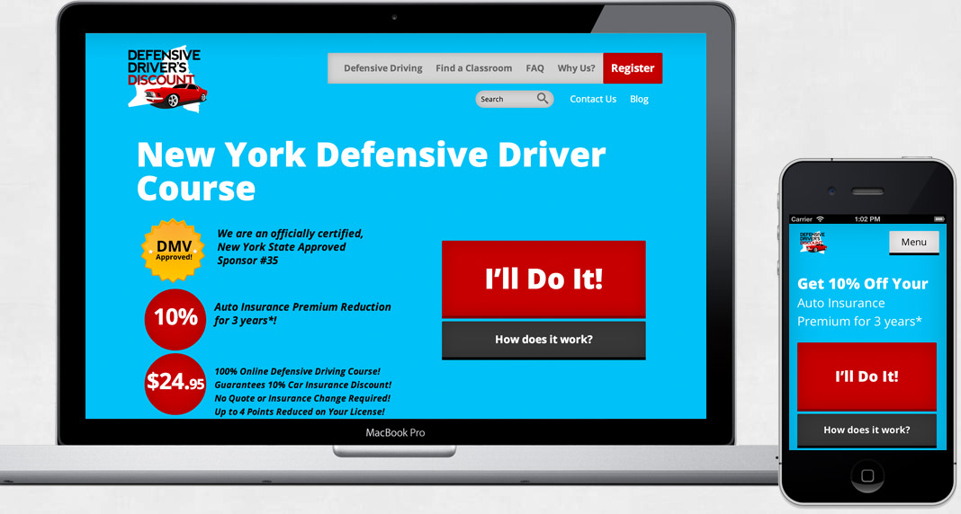 screenshot of Defensive Driver Discount website