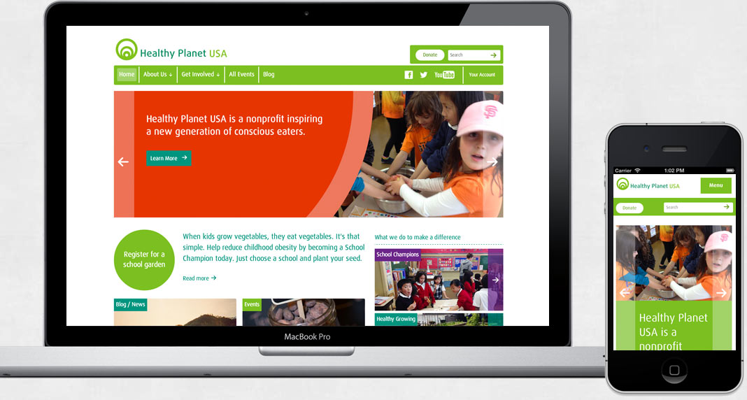 a screenshot of the healthyplanetus.org website on a laptop and mobile device
