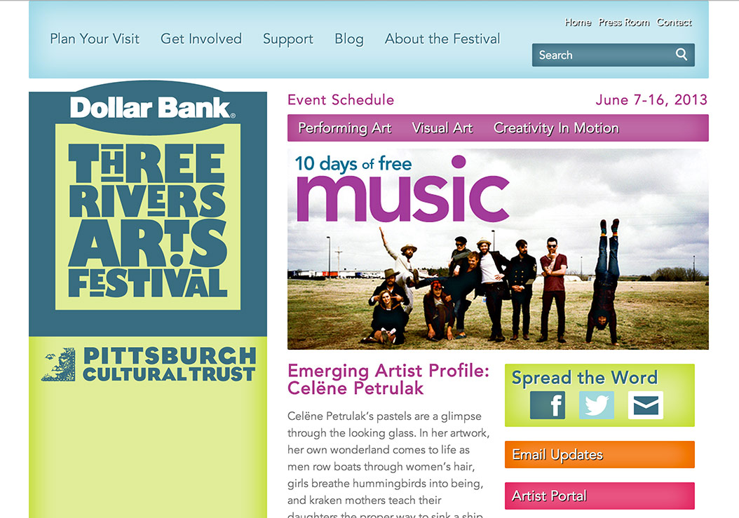 screenshot of the Three Rivers Arts Festival website