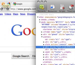 Google Chrome Element inspector