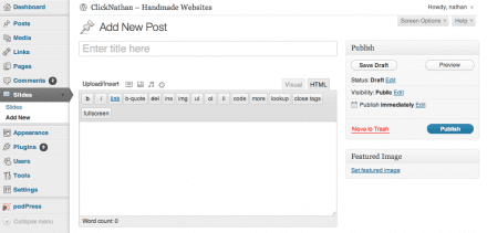 screenshot of the WordPress Admin area, highlighting the custom post type Slides editor