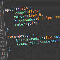 CSS code featuring styles for the ids pittsburgh and web-design