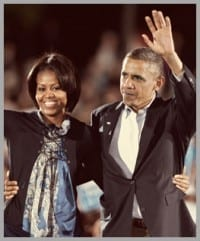 President Barack & First Lady Michelle Obama, waving