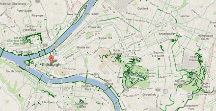 a map of bike trails and lanes in Pittsburgh