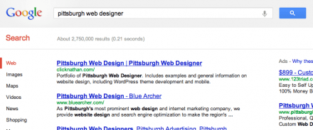 "a screenshot of a Google search results page for ""Pittsburgh Web Designer"""