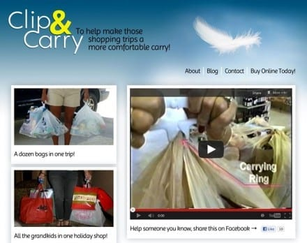 screenshot of clipandcarry.com showing photos, a feather, the logo
