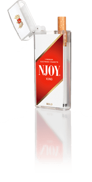 a small plastic package with the word NJOY written on it, an e-cig popping out of the top