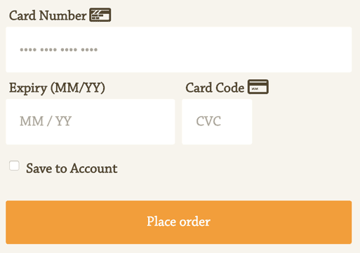 screenshot of an example stripe checkout form