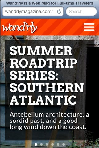 a screenshot of Wand'rly magazine's mobile version, showing the nav menu at the top right corner of the page.