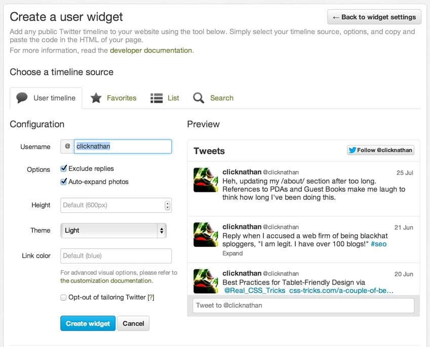 screenshot of twitter.com widget creation page