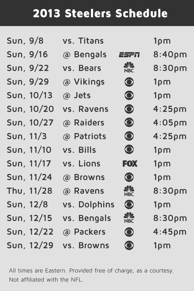 the 2013 pittsburgh steelers game schedule formatted for iPhone