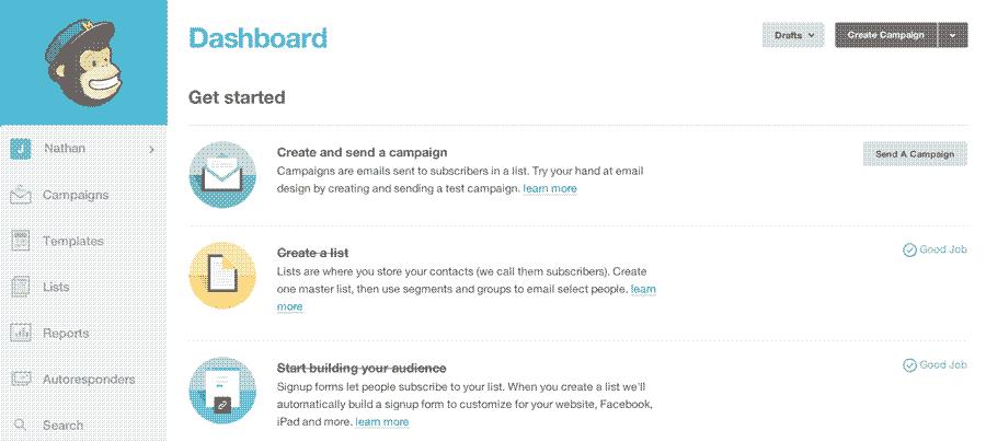 screenshot of the initial mailchimp interface