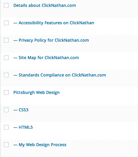 partial screenshot of the Pages section of WordPress, showing child pages beneath their parent