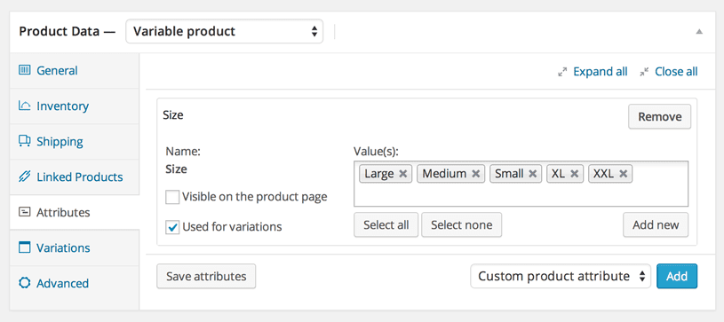attributes panel in Woocommerce
