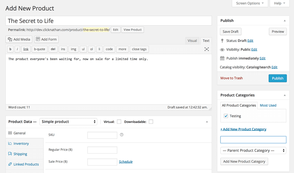 screenshot of woocommerce product editor screen