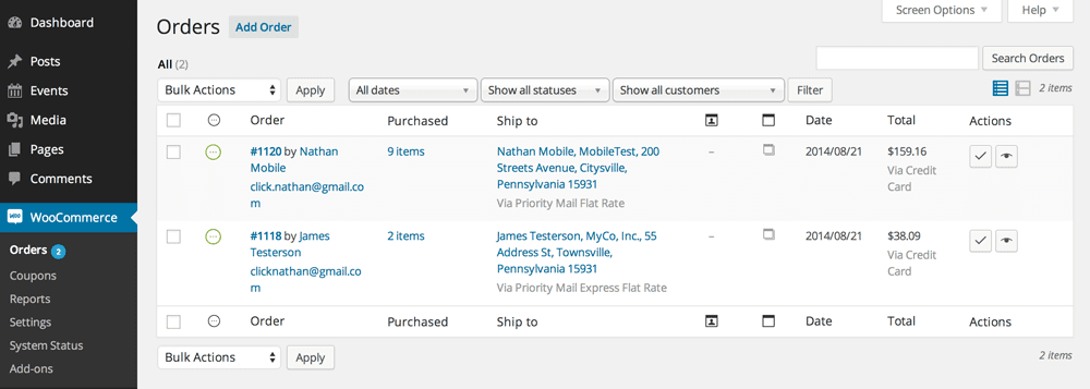 screenshot of Woocommerce's orders page