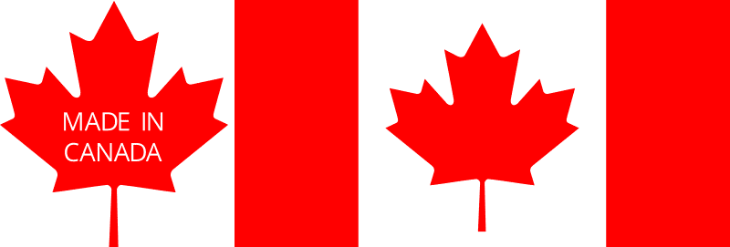 a Made in Canada logo and the canadian flag next to one another