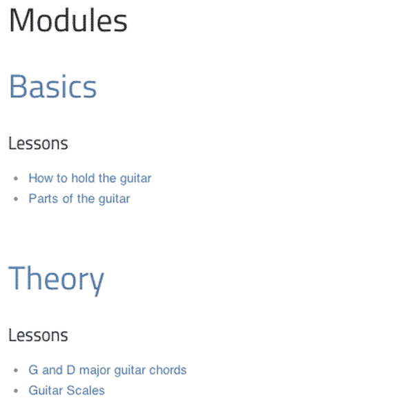 screenshot showing different lessons from a course grouped into modules