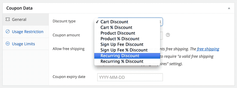 screenshot showing additional choices for Woocommerce coupons
