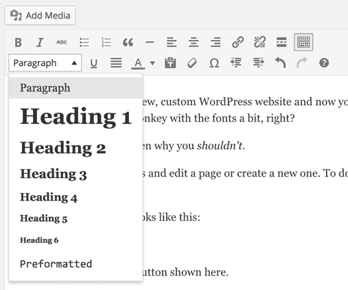 WordPress' toolbar with the dropdown expanded where you can change the tag used on a particular element.
