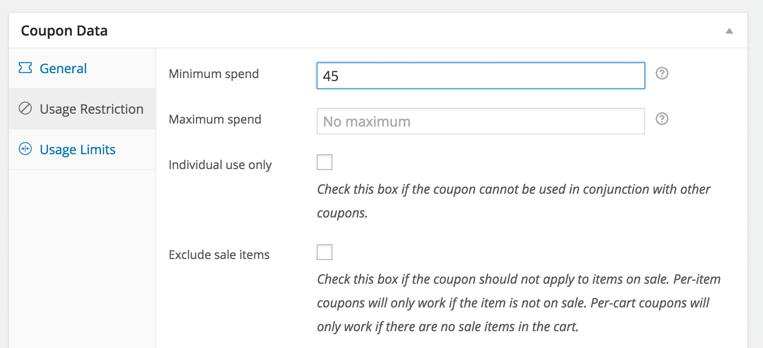 Woocommerce usage restrictions in coupons