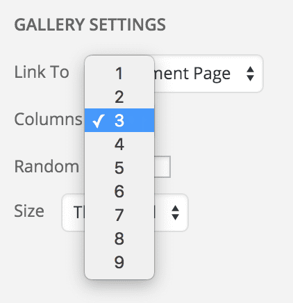screenshot showing the dropdown where you can select from 1 to 9 columns