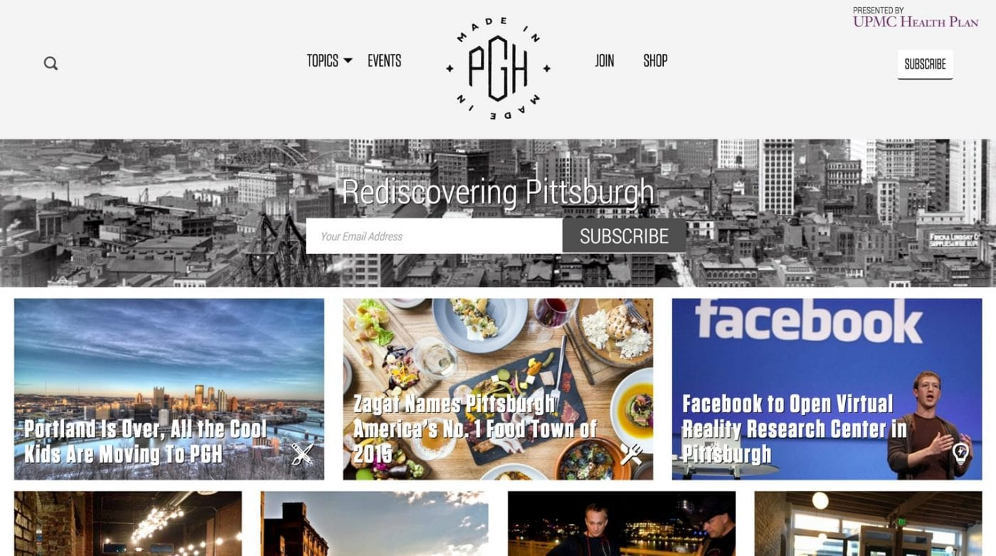 a screenshot of the MadeinPgh.com website
