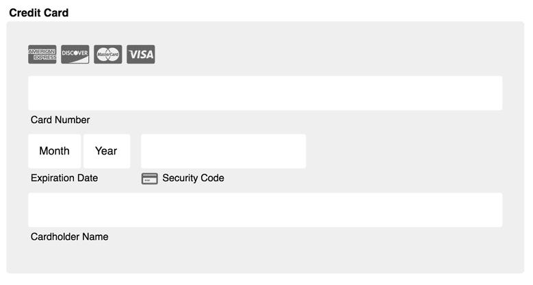 credit card form on a website