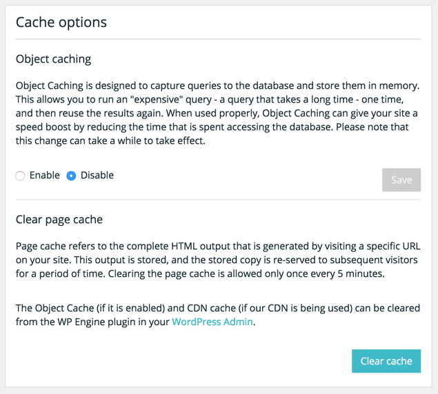 cache options with wp engine