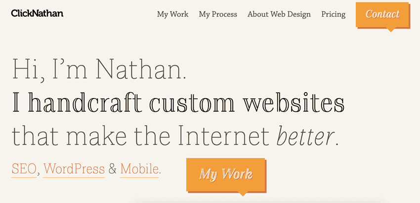 screenshot of the new look for ClickNathan.com