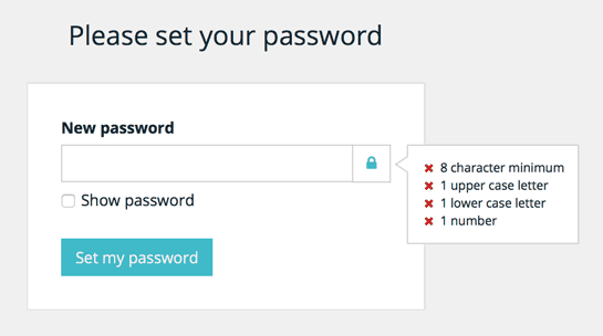 screenshot of the password set page when first logging in to WP Engine