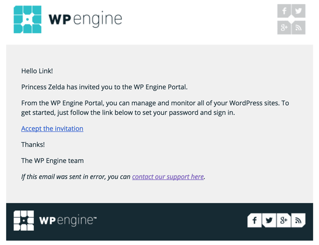 screenshot of the email WP Engine will send you