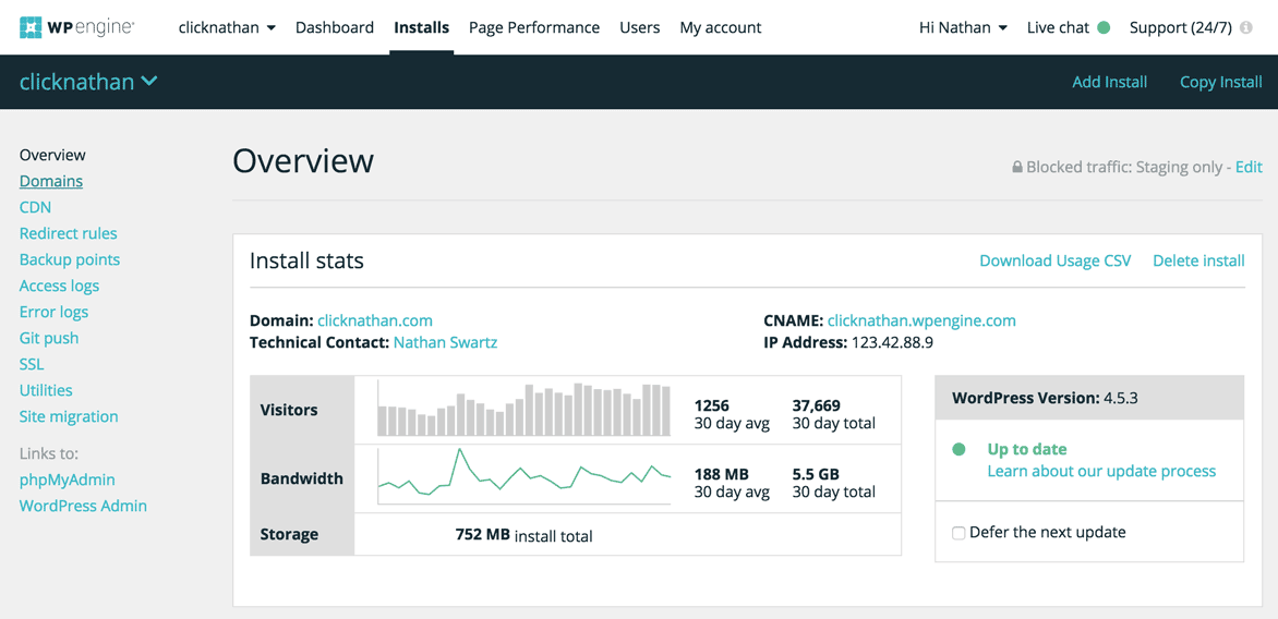 stats on traffic and other information from WP Engine