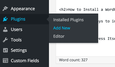 screenshot showing how to get to Add New Plugin in WordPress