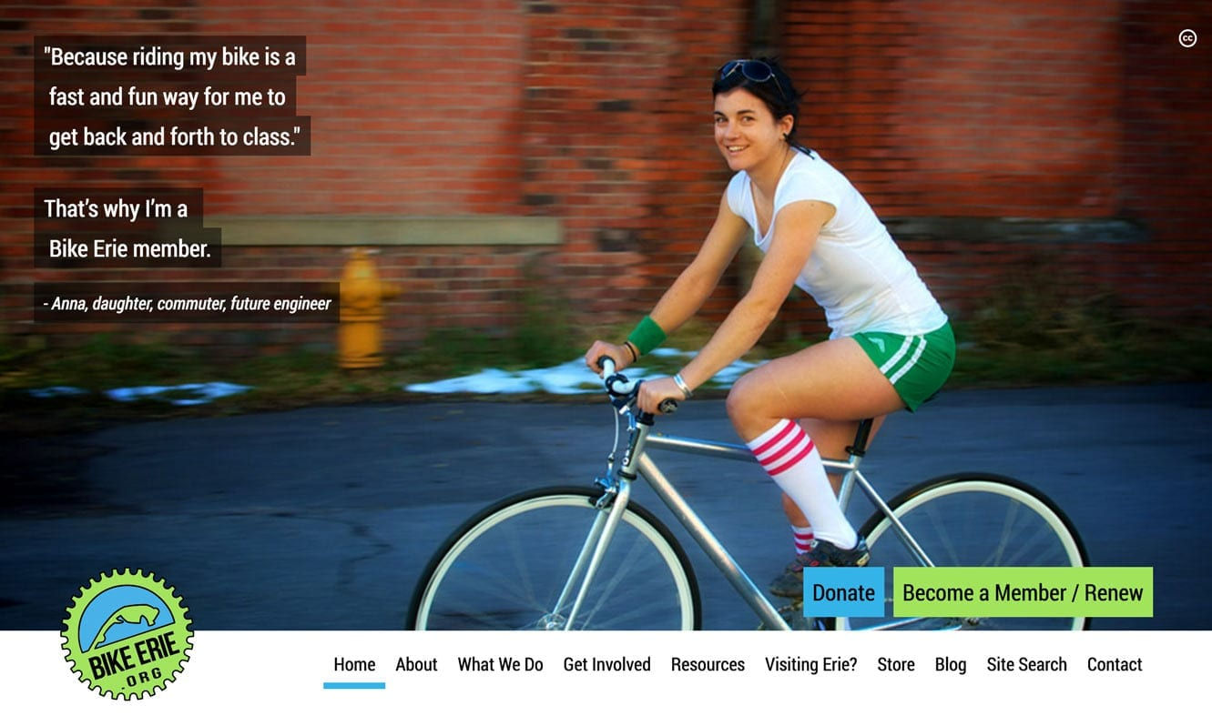 screenshot of bikeerie.org, big beautiful images and a clear message