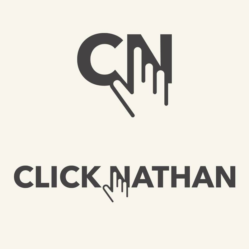 ClickNathan logo showing a hand clicking on the letter N in two varieties