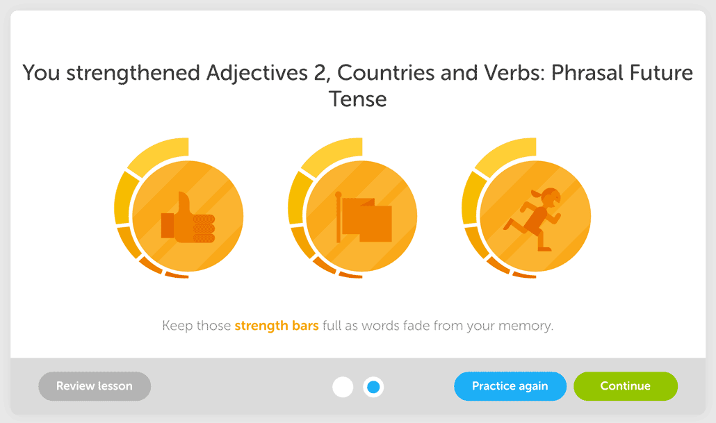 screenshot of progress in Duolingo