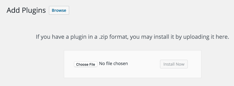 form to upload a WordPress plugin as a ZIP file