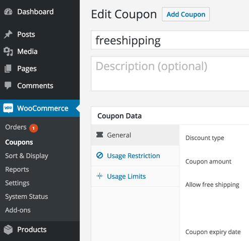 screenshot showing where the coupons section is in Woocommerce