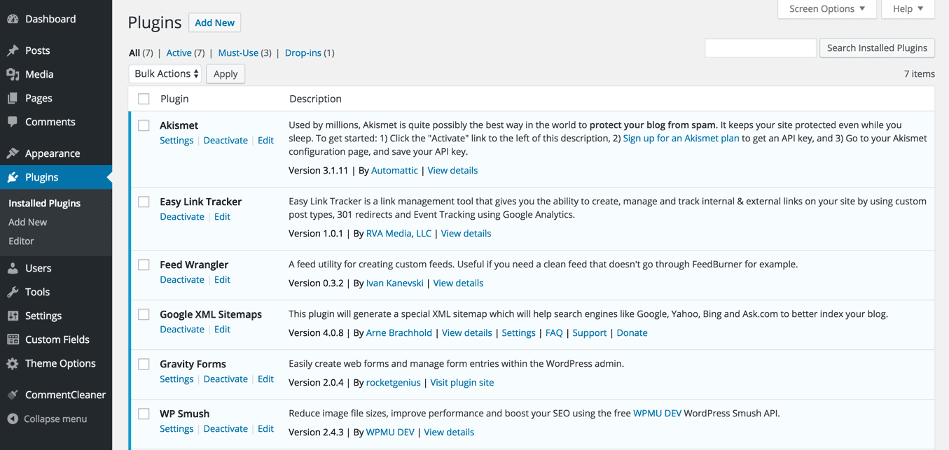 screenshot of wp plugins installed page
