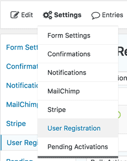 form settings dropdown