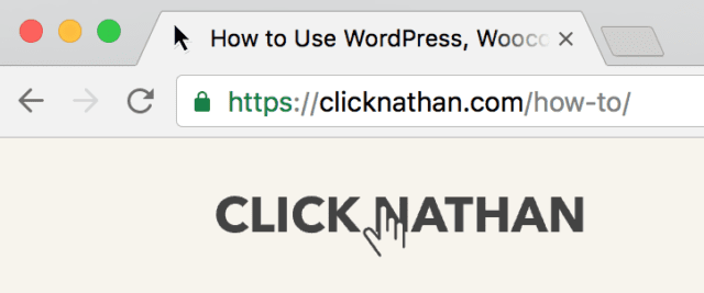 screenshot of a browser tab on ClickNathan.com