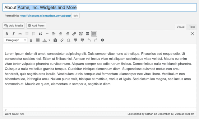WordPress Page Editor updated to our longer, more descriptive text