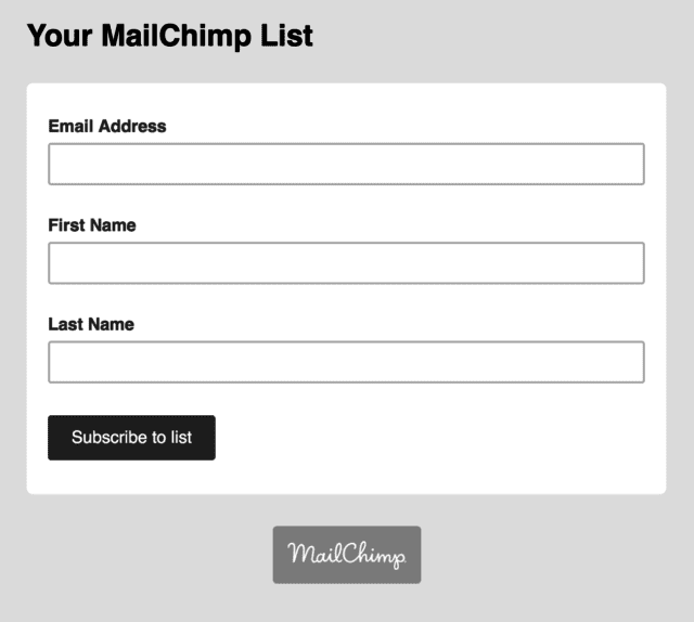 mailchimp newsletter signup form