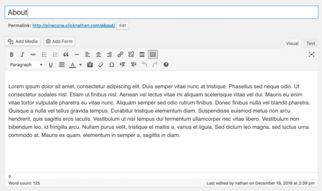 "WordPress Page Editor showing the title as simply ""About"""