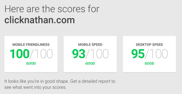 ClickNathan scores high across Google's tests