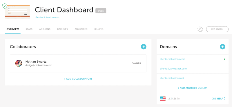 screenshot of flywheel overview page