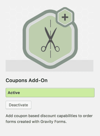 screenshot of coupons add-on for Gravity Forms