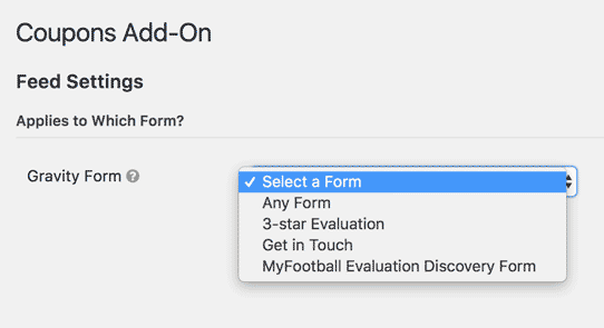 create new coupon, choose a form