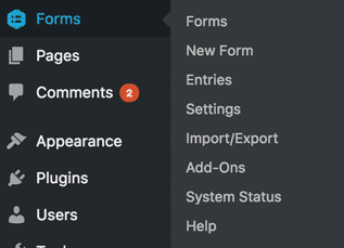 WordPress Menu to get into Gravity Forms